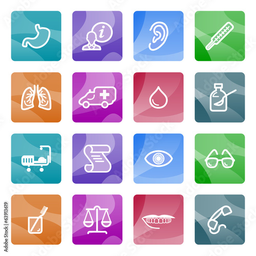 Medicine contour icons on color buttons.