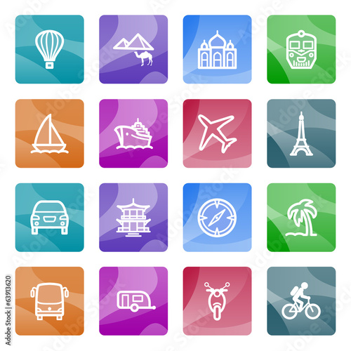Travel contour icons on color buttons.