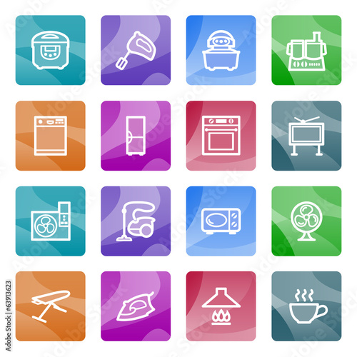 Home appliances contour icons on color buttons.