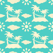 Seamless pattern with silhouettes coconut palm trees. Endless pr