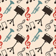 Musical seamless pattern with music notes, treble clef, trumpet,