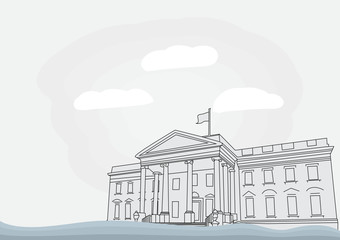 The White House in Washington, D.C. Vector illustration