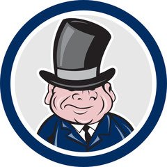 Man Wearing Top Hat Smiling Circle Cartoon
