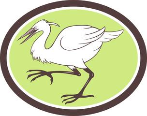 Egret Heron Crane Walking Cartoon