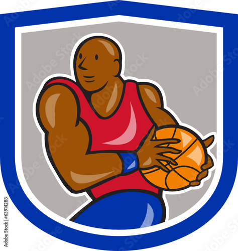 Basketball Player Holding Ball Cartoon