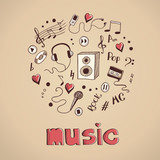 Fototapety Sketch of music elements
