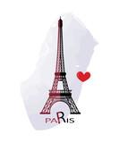 Grunge elegance ink splash illustration of Eiffel tower