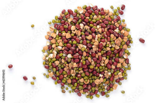 different types of beans isolated on white background