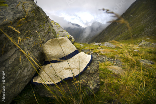 A lost hat in hills