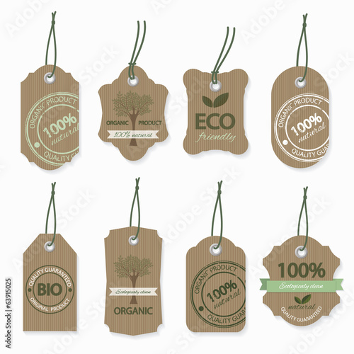 Eco natural organic cardboard labels.