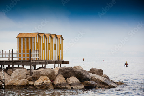 Yellow wooden cabins