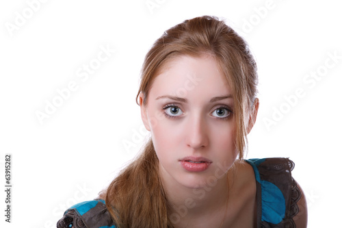 portrait of the girl isolated on a white background