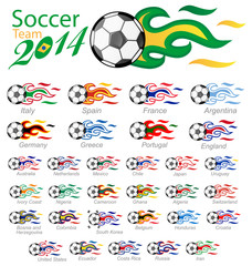 soccer ball set with flag flame