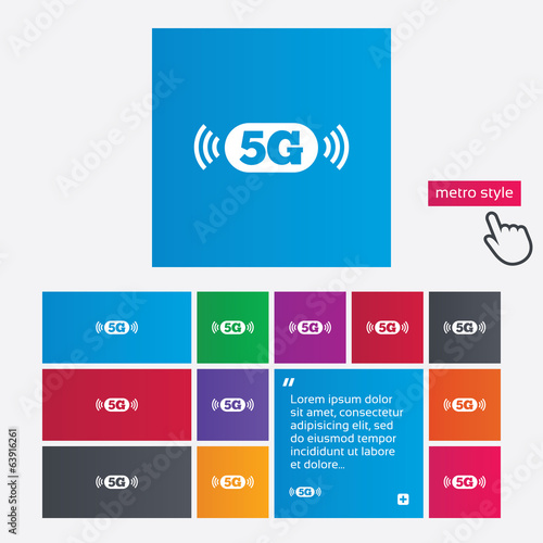 5G sign. Mobile telecommunications technology.