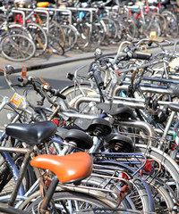 Lots of bikes in Amsterdam, Netherlands