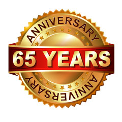 65 years anniversary golden label with ribbon.