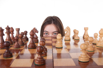 Girl playing chess