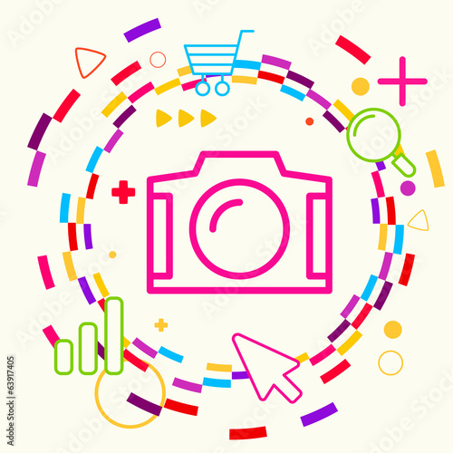 Photo camera on abstract colorful geometric light background wit