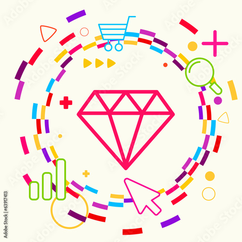 Diamond on abstract colorful geometric light background with dif
