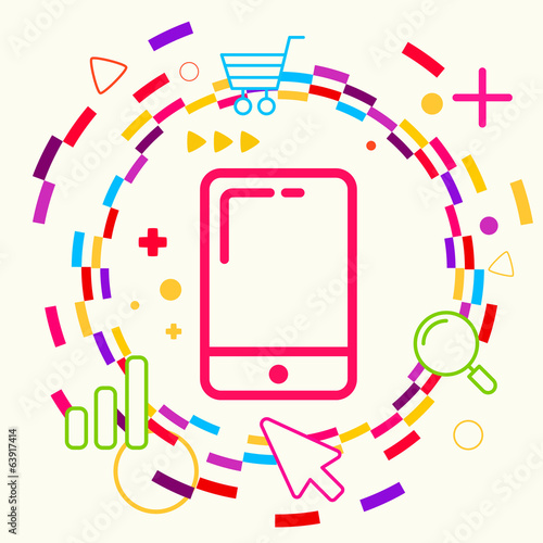 Mobile phone on abstract colorful geometric light background wit
