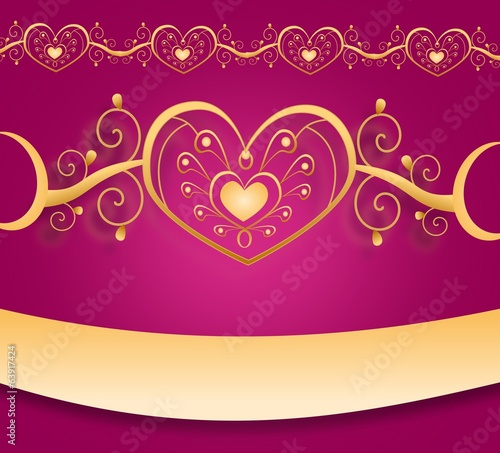 Wedding pink gold card
