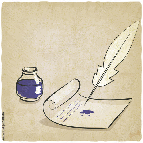 inkwell pen paper old background