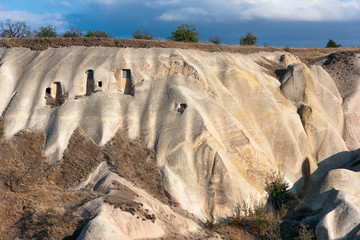 Volcanic landscape of Uchisar in Cappadocia,  Turkey