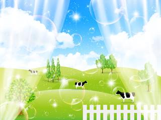 牧場 牛 カーテン