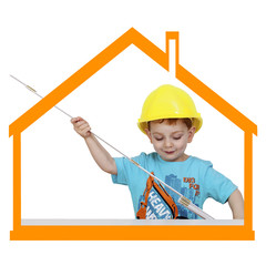 Child with construction helmet symbolic in the house