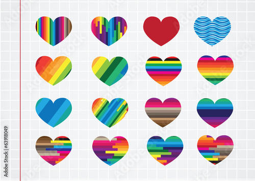 Heart abstract icons signs and symbols set on notebook paper bac