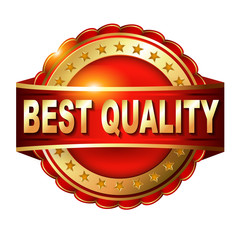 Best Quality guarantee golden label with ribbon.