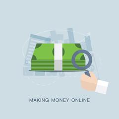 Making money online flat vector concept
