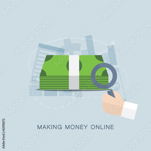 Making money online flat vector concept