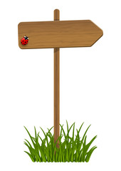 Wooden signpost with green grass