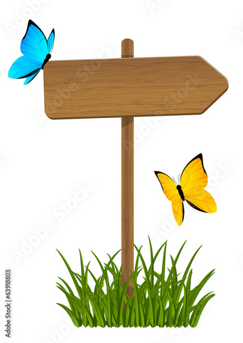 Wooden signpost with green grass and butterflies
