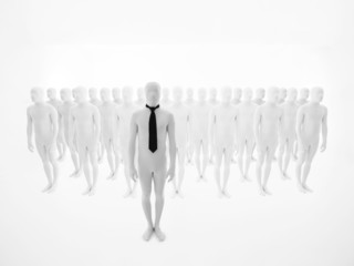 business man standing in front of an crowd