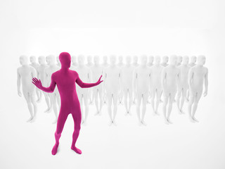 pink man dancing in front of a crowd