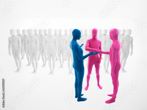 woman dressed blue   men dressed in pink to shake hands