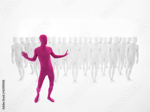 pink man dancing in front of a crowd Poster