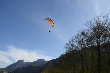 Paragliding and Forclaz mountains, in Annecy, Savoy, France