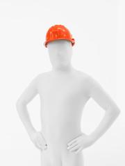 faceless man orange helmet