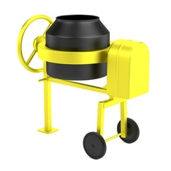 realistic 3d render of cement mixer