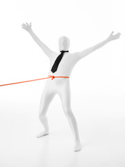 faceles man held by orange rope