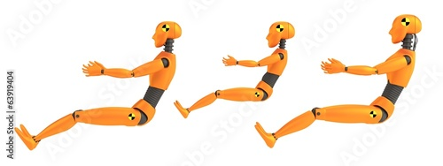 realistic 3d render of crash dummies