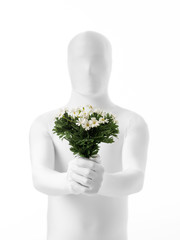 faceless man with flowers