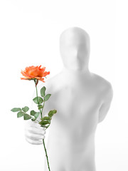 faceless man with rose