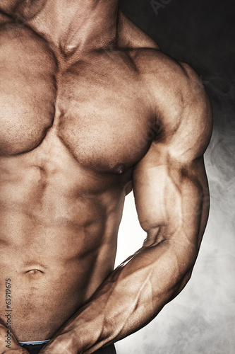 Close-up of bodybuilder