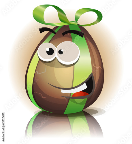 Cartoon Chocolate Easter Egg Character
