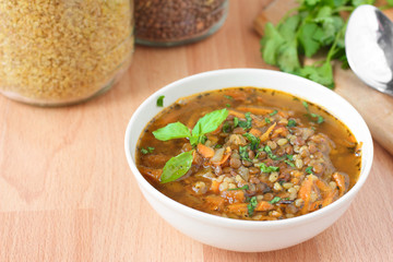 Traditional turkish soup with bulgur and lentils