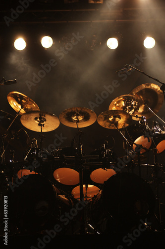 Set of drums on stage